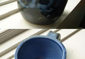 Medium Blue and Black Mug by fishimishi