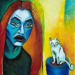 Selfportrait With Cat (A la Kirchner) by Stardust-Splendor