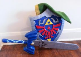Hyrule Shield, Master Sword and Link Hat by DuctileCreations
