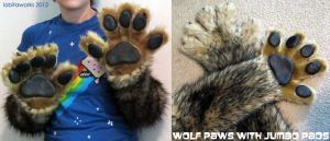 Wolf Paws with Jumbo Pads by LobitaWorks