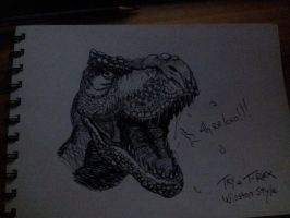 T-Rex Head by MadHatterMuscaria