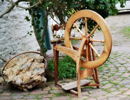 Spinning Wheel and Wool 2 by Elsapret