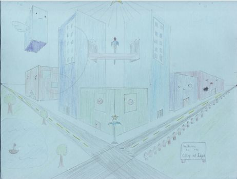 Cityscape - 2point Perspective by hybridzerotenshi