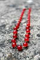 Vibrant Antique Red Jade Beaded Necklace by Clerdy