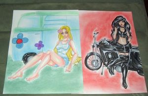 Hippie and Biker by raccoon-eyes