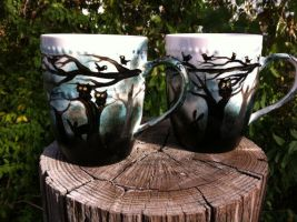 The Dark Forest 11- ounce handpainted mugs 4 sale! by InkyDreamz