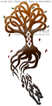 Knotwork Wolf And Tree Design by WildSpiritWolf