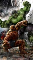 The Thing vs Hulk by uncannyknack