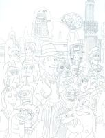 Doctor Who/ Futurama Fifth Doctor (No Color) by iamtherealbender
