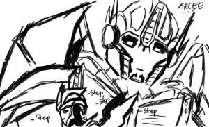 Optimus and Arcee by Shikutoki