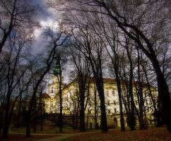 Castle in gloomy evening by Alzbettta