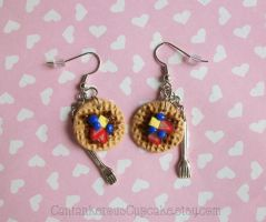Waffle with Fork Earrings by CantankerousCupcake
