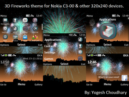 3D Fireworks theme for Nokia C3 and other 320x240 by cyogesh56