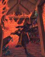 Burning Alchemist's Shop by SpiralMagus