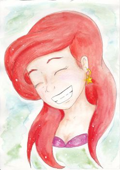 Art ::: Happy Ariel Watercolor Gift by Vickster
