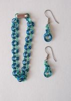 Chainmaille bracelet and earrings by DarkRaven17