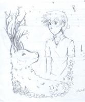 Oscar and deer wolf tree thing by wolfspiritsd