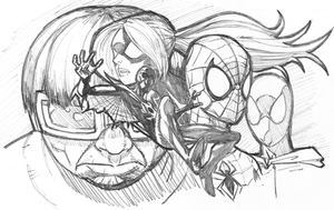 Spidey Fam Sketch by RayHeight