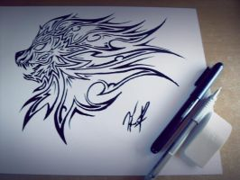 Lion Head Wind Style Tribal by DJDragon