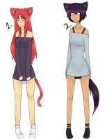 (CLOSED)(Auction) Point Adoptables: Cat Girls by Acetylace-Adopts