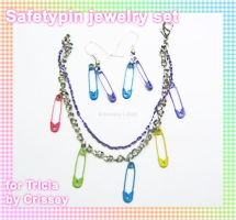 Safety Pin Jewelry Set by Crissey