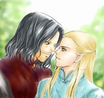 Aragorn and Legolas by candytuff