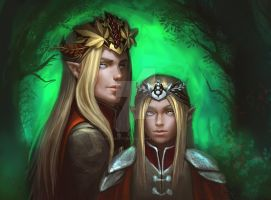 Thranduil and Legolas by Berezka