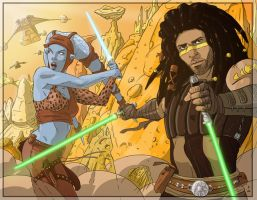 Commission: Aayla and Quinlan by StefanoMarinetti