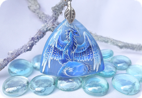 Ice dragon - stone painting necklace by AlviaAlcedo