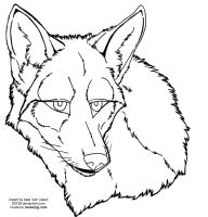 coyote face lineart 2 by 00129