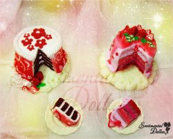 Kawaii Strawberry Cakes by SentimentalDolliez
