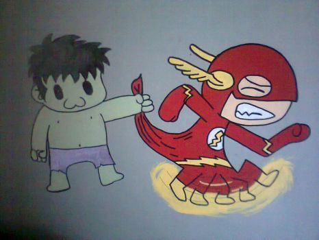 the hulk and flash wall mural by 123deaththekid