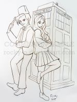 Dr Who and Amy Pond with Tardis by Rocky-O