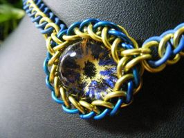 Cobalt, Yellow, And Black Eye Stretchy Necklace by BacktoEarthCreations