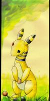 Ampharos Watercolour by haruka-wolf