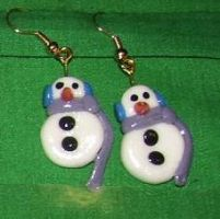 snowman earrings by ladytech