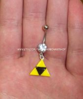 Triforce belly ring by RainbowKidShop