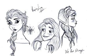 Disney's Elsa, Rapunzel and Anna sketch by MariaNikamn