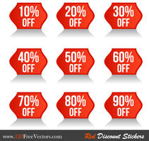Red Discount Stickers Vector Free by 123freevectors