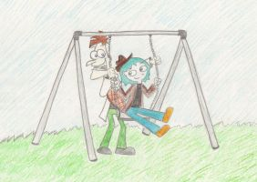 doof pushes perry on the swing by Spongebobluvr66