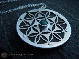 Flower of Life Pendant with ebony and turquoise by jeanburgers