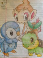 Sinnoh Starters by shiny9tails