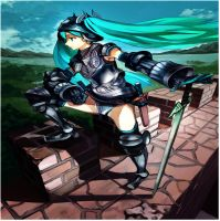 Enhanced Hatsune Miku in full armor by ADHD-Awesomeness