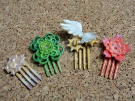 Tiny Hair Combs by silverbeam