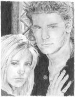 Buffy And Angel by maxwellsilverhammer