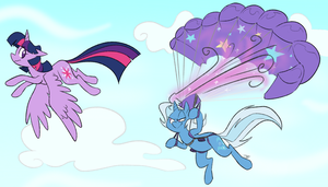 Twilight and Trixie in Flight by egophiliac by phallen1