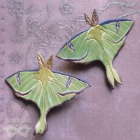 Little Luna Moth hair Clips by Beadmask