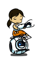 Chibi Wheatley n Chell by gryphonworks