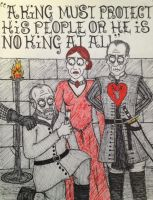 Davos Seaworth, Melissandre and Stannis Baratheon by timburtongot