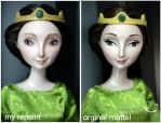 mattel Elinor doll and my repaint compare by kamarza
